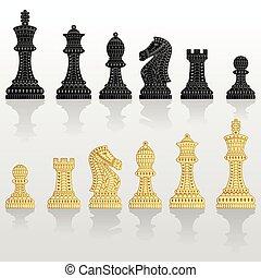pieces., tudo, jogo, xadrez