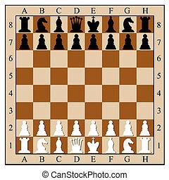 pieces., vecteur, illustration., planche, échecs