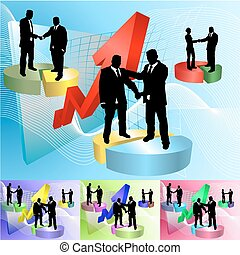Conceptual business background, people shaking hands on pie charts in front of soaring profits, main image on separate layers for easy editing. Also includes several different color versions
