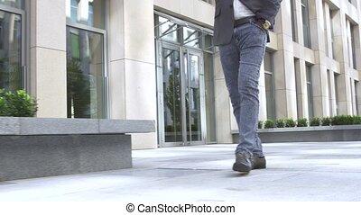 pied, brun, chaussures, cuir, humain, jean