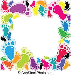 pied, cadre, fait, étapes