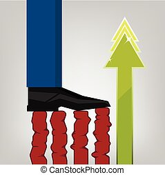 pied, commerce, homme affaires, pas, diagramme