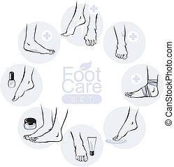pied, ensemble, soin