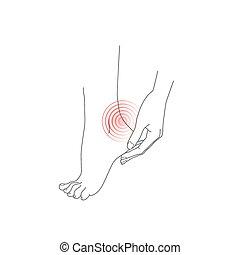 pied, femme, pieds, main