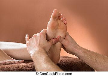 pied, femme, réception, masage