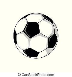 pied, football, illustration, balle