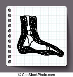 pied, griffonnage, rayon x