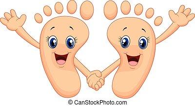 pied, heureux, dessin animé, tenant mains