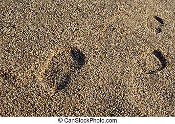 pied imprime, sur, méditerranéen, plage., coucher soleil,...