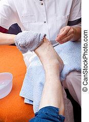 pied, infirmière, lave, patient