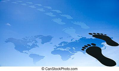 pied, la terre, caractères, autour de