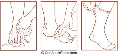 pied, monde médical, vecteur, illustration, soin
