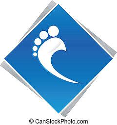 pied, pédicure, bleu, logo
