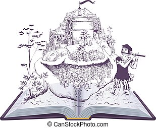 Pied piper of Hamelin open book illustration fairy tale. ...