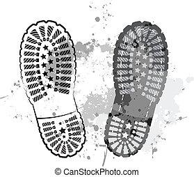 pied, piste, noir