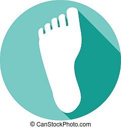 pied, plat, humain, icône
