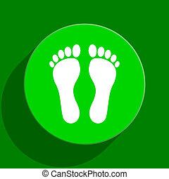 pied, plat, vert, icône