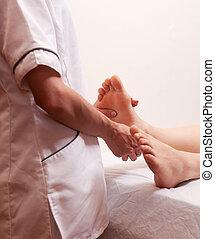 pied, professionnel, masage