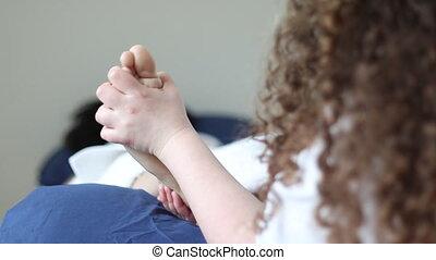 pied, reflexology, praticien, traiter