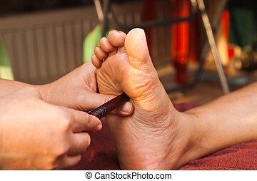 pied, reflexology, traitement, masage, spa