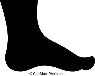 pied, silhouette, humain