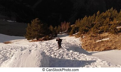 pied, snowboarder, épaules, kicker, athlète, vue, montées, ...