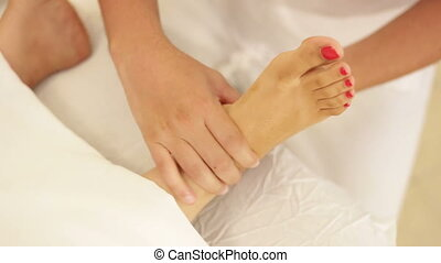 pied, sommet, masage, vue