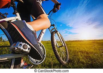 pied, sur, pédale, de, vélo