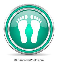 pied, toile, vert, lustré, icône
