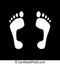 piede, appartamento, icon., orma, simbolo.