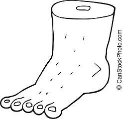 piede, bianco, nero, cartone animato