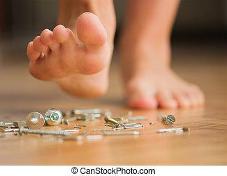 piede, chiodo, sopra, umano