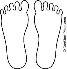 piede, contorno, umano, icona