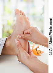 piede, donna, ricevimento, massaggio