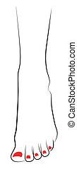 piede, femmina, rosso, pedicure