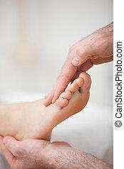 piede, fisioterapista, offerta, massaggio