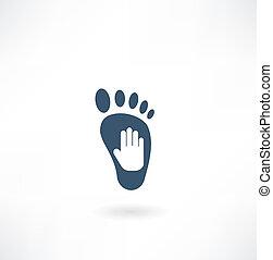 piede, icona, creativo, cura