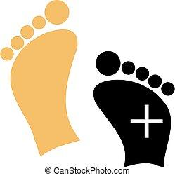piede, logotipo, cura