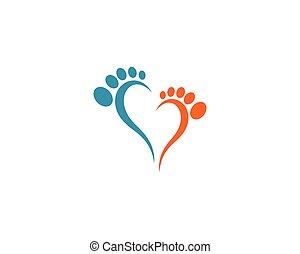 piede, logotipo, vettore, cura, ilustration