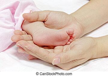 piede, poco, mani, bambino, madre