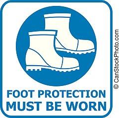 piede protezione, segno, icon), (safety