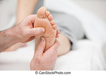 piede, ricevimento, paziente, massaggio