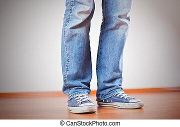 piede, scarpe tennis, jeans, umano