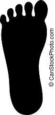 piede, silhouette, umano, icona