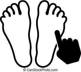 piede, simbolo, acupressure