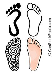 piede, simbolo, collezione