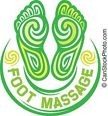 piede, simbolo, massaggio