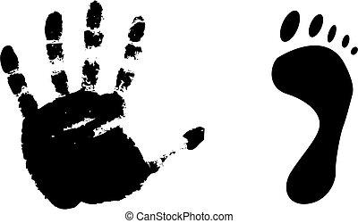 piede stampa, nero, mano