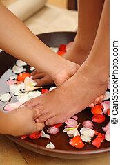 piede, terme, &, massaggio