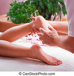piede, terme, massaggio, femmina